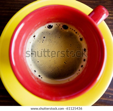 Coffee in red cup - stock photo