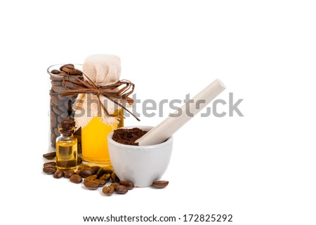 Coffee in stages of Beans, powder and oil isolated on white.