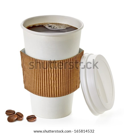 Coffee in takeaway cup with beans including clipping path - stock photo