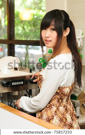 Coffee in the kitchen, the young beauty - stock photo
