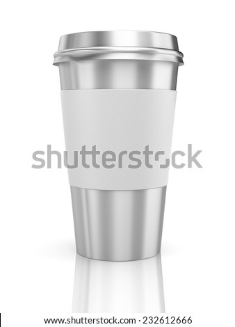 Coffee in thermo cup. Take-out coffee - stock photo