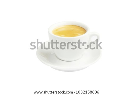 Coffee in white Cup with saucer on pure white background.