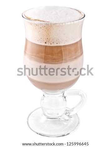 Coffee Latte in a glass isolated on white background