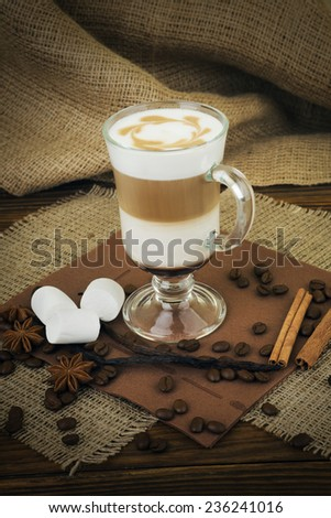 Coffee latte in glass cup - stock photo