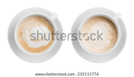 Coffee latte or cappuccino top view isolated - stock photo
