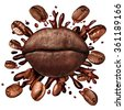 Coffee lips concept and a hot beverage splash with coffee beans flying out splashing fresh hot brewed liquid as a symbol for the love of drinking caffeinated drinks isolated on a white background. - stock vector