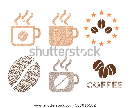 Coffee logo collection. Symbols are composed from coffee beans. Flat brown seeds on a white background. - stock photo