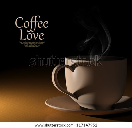Coffee love. Warm cup of coffee on black background - stock photo