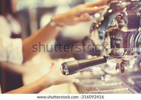 coffee machine in coffee shop ,vintage filer - stock photo