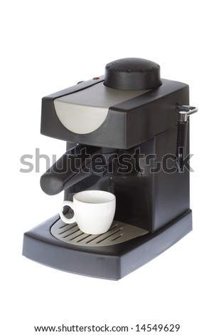 Coffee machine on a white isolated background - stock photo