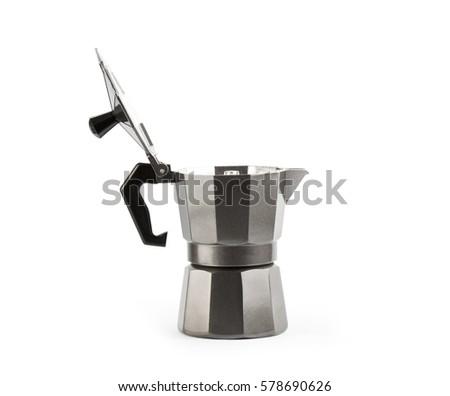 Coffee maker isolated on white background. Moka close up
