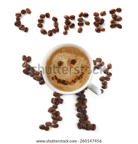 Coffee mascot and inscription of cup and beans isolated on white background - stock photo