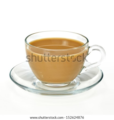 Coffee milk in glass cup with clipping path - stock photo