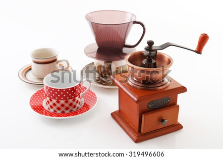 Coffee mill and cups