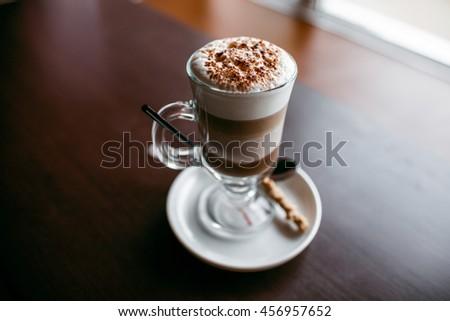 coffee mocha on the wood desk - stock photo