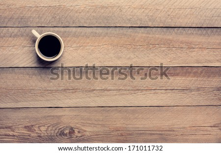 Coffee Mug on Wooden Table - stock photo