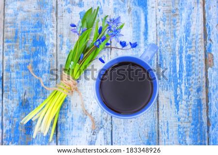 coffee mug  spring flowers - stock photo