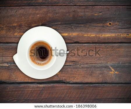 coffee mug vintage wooden background - stock photo