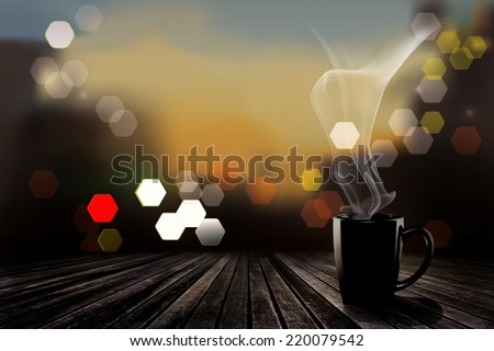 Coffee mug with steaming and bokeh,black coffee mug in morning - stock photo