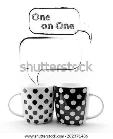 Coffee mugs with speech bubbles 1 on 1 text sketchy  isolated - stock photo