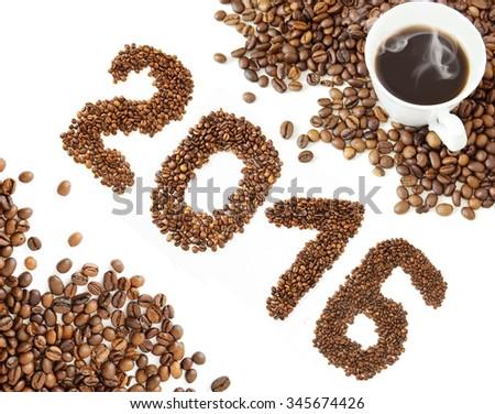 Coffee new year 2016 - stock photo