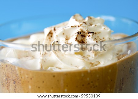 coffee on a blue background - stock photo