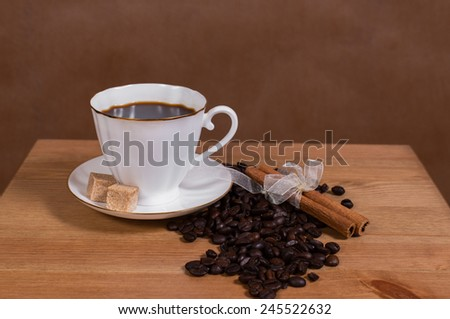 coffee on a brown background