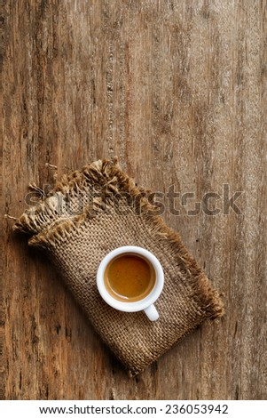 coffee on a wooden table - stock photo