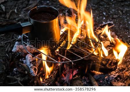 coffee on campfire - stock photo