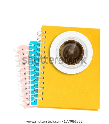 Coffee on stack of ring binder book or notebook isolated on white - stock photo