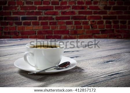 coffee on the background wall - stock photo