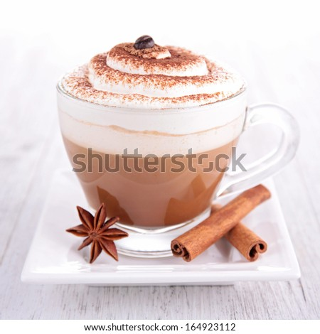 coffee or chocolate with cream - stock photo