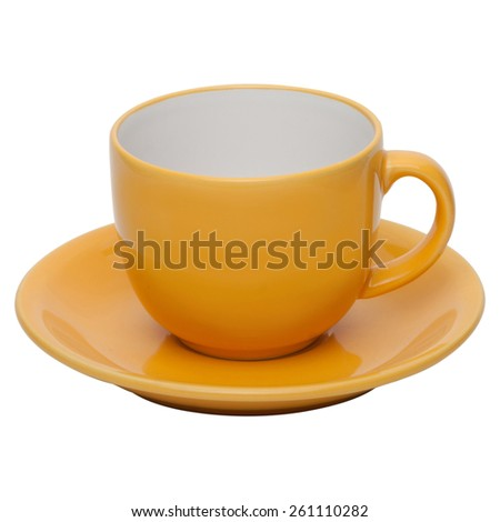coffee or tea yellow cup with saucer isolated on white background - stock photo