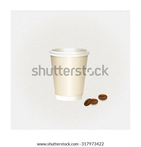 Coffee paper cup. Paper cup. Paper cappuccino cup. Large coffee paper cup. Beige espresso cup with cap. Coffee to go. Coffee cup isolated. Paper cup. Latte cup. To go cup of coffee. - stock photo