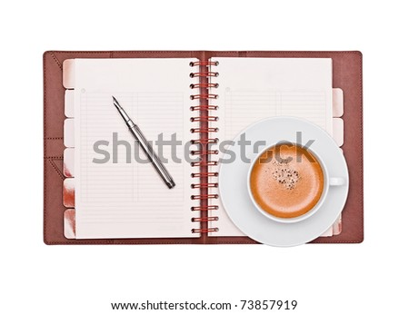Coffee, pen and organizer on a white background - stock photo