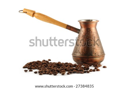 Coffee pot and cofee beans - stock photo