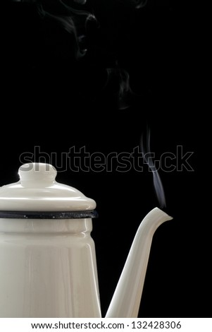 Coffee pot, steam - stock photo