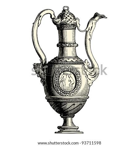 Vintage Coffee Logo Coffee Pot Vintage Engraved