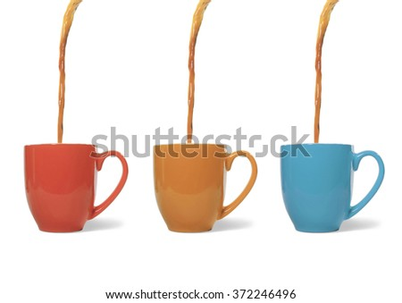 Coffee Poured into Three Mugs