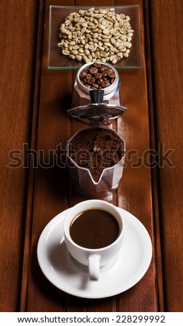 Coffee preparation phases vertical - stock photo
