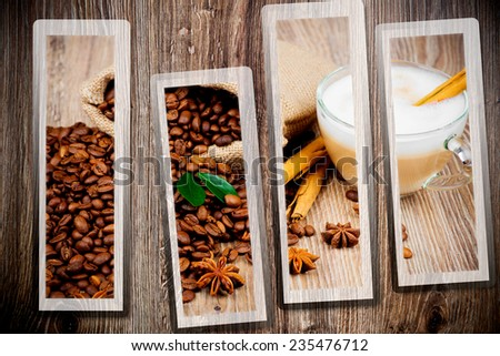 Coffee set on wooden background - stock photo