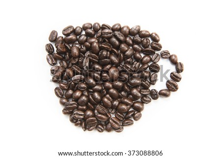 Coffee shape set on white background , cup - stock photo