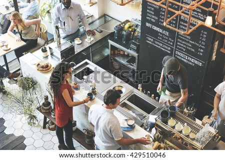 Coffee Shop Bar Counter Cafe Restaurant Relaxation Concept - stock photo