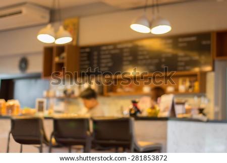 Coffee shop blur background. - stock photo