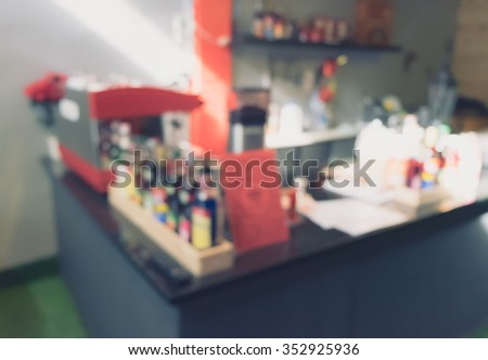 Coffee shop blur background with bokeh, Blurred background made with Vintage Tones
