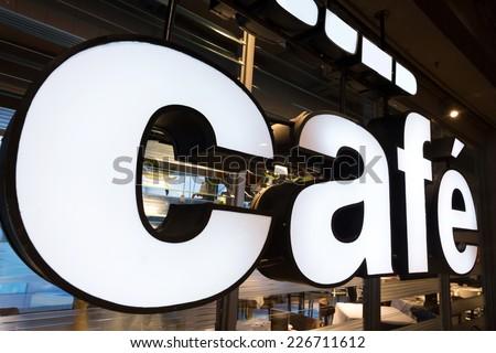 coffee shop logo close up at shopfront - stock photo