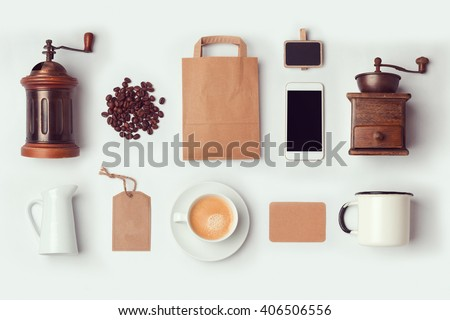 Coffee shop mock up template for branding identity design. View from above. Flat lay - stock photo