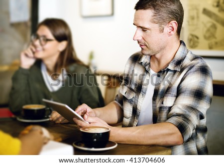 Coffee Shop People Meeting Browsing Device Concept - stock photo