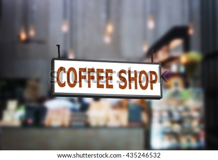 Coffee shop signboard with blurred background in coffee shop