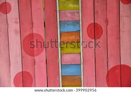 coffee shop wall design by wood and pink color